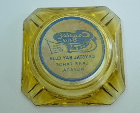 Crystal Bay Club Lake Tahoe Nevada Vntg Yellow Glass Ashtray