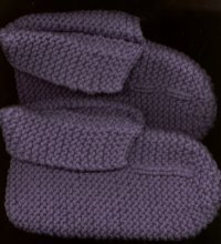 PURPLE HAND KNITTED SLIPPERS