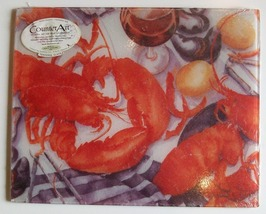 Counter Art Tempered Glass Cutting Board, Lobsters, 12x15, New - $16.50