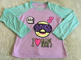 Joe Boxer Girls Purple Teal Emoji Naps Raglan Long Sleeve Pajama Shirt 1... - $5.00