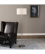 MODERN DESIGNER INSPIRED THIN BEAD FRAME METAL FLOOR LAMP BRUSHED NICKEL  - $301.40