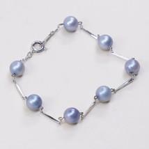 "7.5"", Vtg Sterling Silver Handmade bracelet    925 Bar With Blue Pearl B... - $23.25"