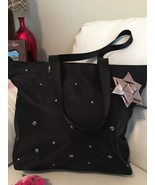 Bath And Body Works Black+silver   RibbonTote Beads Bag 35 Retail ! Very... - $21.78