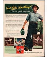 Vintage magazine ad COCA COLA from 1942 factory worker pic That Extra So... - $11.69