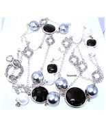 """Peter Thomas Roth Black Onyx Station Sterling Silver Necklace 57""""  104g ... - $385.00"""