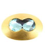 Vintage Jay Feinberg Mod Brushed Gold Tone Blue PasteHuge Rhinestone Pin... - $121.49