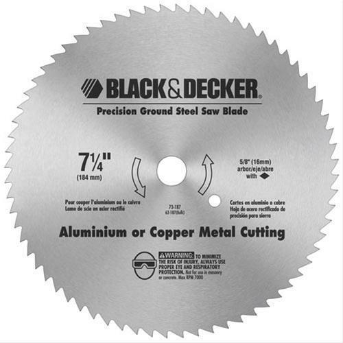 "Primary image for Black & Decker 73-187 7-1/4""  Precision Ground Steel Saw Blade Aluminum & Copper"