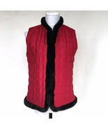 JM Collection Red Faux Fur Trimmed Quilted Vest Womans Small Holiday Lig... - $27.04