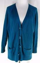 TALBOTS Cable Knit Pima Cotton Cardigan Sweater XL Teal Peacock Blue But... - $19.99