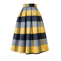 Women Yellow Plaid Pleated Skirt High Waist Winter Wool Pleated Skirt Pl... - $65.99