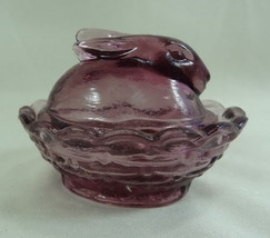Boyd Glass Bunny Salt Dip Royal Plum Glass Covered Salt 4/4/1995 - $21.49