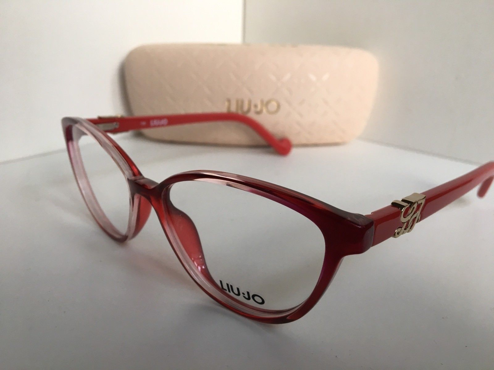 New LIU JO LJ 2618 615 Polished Red 53mm Rx Cats Eye Women's Eyeglasses Frame