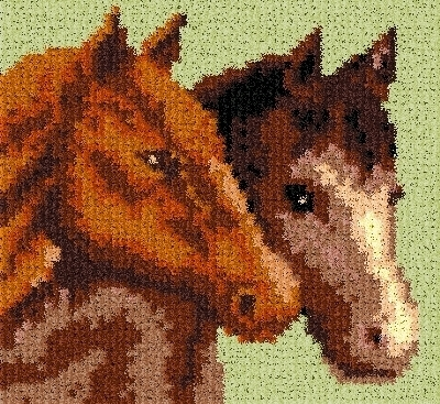 Latch Hook Rug Pattern Chart: Horse Duo pillow top - EMAIL2u