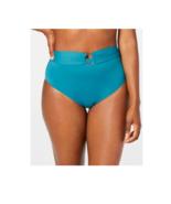 Bar III Belted High Waist Bikini Bottoms Teal Green Size S New Sunset Solid - $14.80