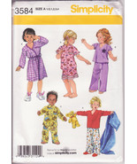 Simplicity 3584 Toddlers, Pajamas and Robe Size 1 to 4, Girls Boys, Pull... - $10.00