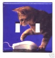 Cat and Computer Mouse Double Light Switch Plate Cover