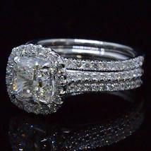 3.71ct Cushion-Cut Diamond Trio Bridal Set Halo Engagement Ring 14K Whit... - $406.14