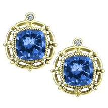 2.28 tcw Cushion Cut cr Sapphire & Natural Diamond Antique Vintage Earri... - $236.00