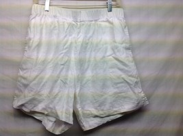 Ladies Cotton Connection White Linen Shorts Sz LG