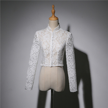 Women Retro Square Neck Lace Shirt Button Down Wedding Bridal Lace Crop Shirts image 3
