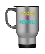 Tacos and Tequila Retro Neon Sign Travel Mug - $21.99