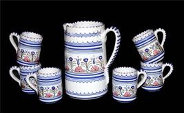 7-Pc Handmade Handpainted Mexican? Blue Floral Stripe Pitcher 6 Mugs Unu... - $49.99