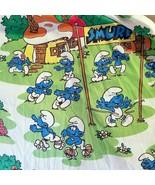 Smurfs Twin Fitted Bed Sheet Papa Smurf Vintage 80s Gargamel Fishing Racing - $34.65