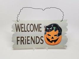 Welcome Friends Halloween Wall Decoration Pumpkin Black Cat - $16.28