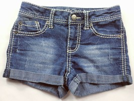 Cherokee Women's Juniors Booty Jean Shorts Size Medium Embroidered Stretch - $19.80