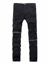 Lavnis Men's Slim Fit Destroyed Jeans with Holes Pencil Pants Slim Zipper Jeans  - $27.56