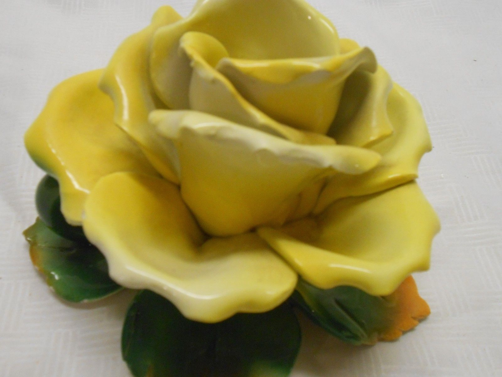 Made in Italy Porcelain Yellow Rose Candle and similar items