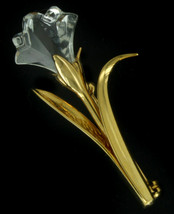 Vintage Retired Swarovski Clear Crystal Single Flower Gold Pin Brooch Sw... - $53.99