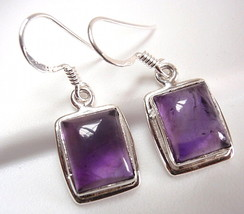 Amethyst Simple Rectangle Earrings 925 Sterling Silver Dangle Drop New - $14.97