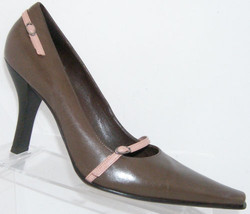 Kenneth Cole New York Backstage brown leather pointed toe buckle heel 8.5 - $37.08