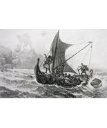ULYSSES Defying Cyclops Soldiers in Sailboat - Photogravure Antique Print - $14.40