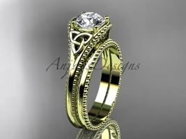 Celtic knot wedding rings sets 14k yellow gold engagement ring CT7375S - $1,095.00