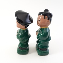 Pair of Asian Children Figurines Dressed in Green and Black Japan image 6