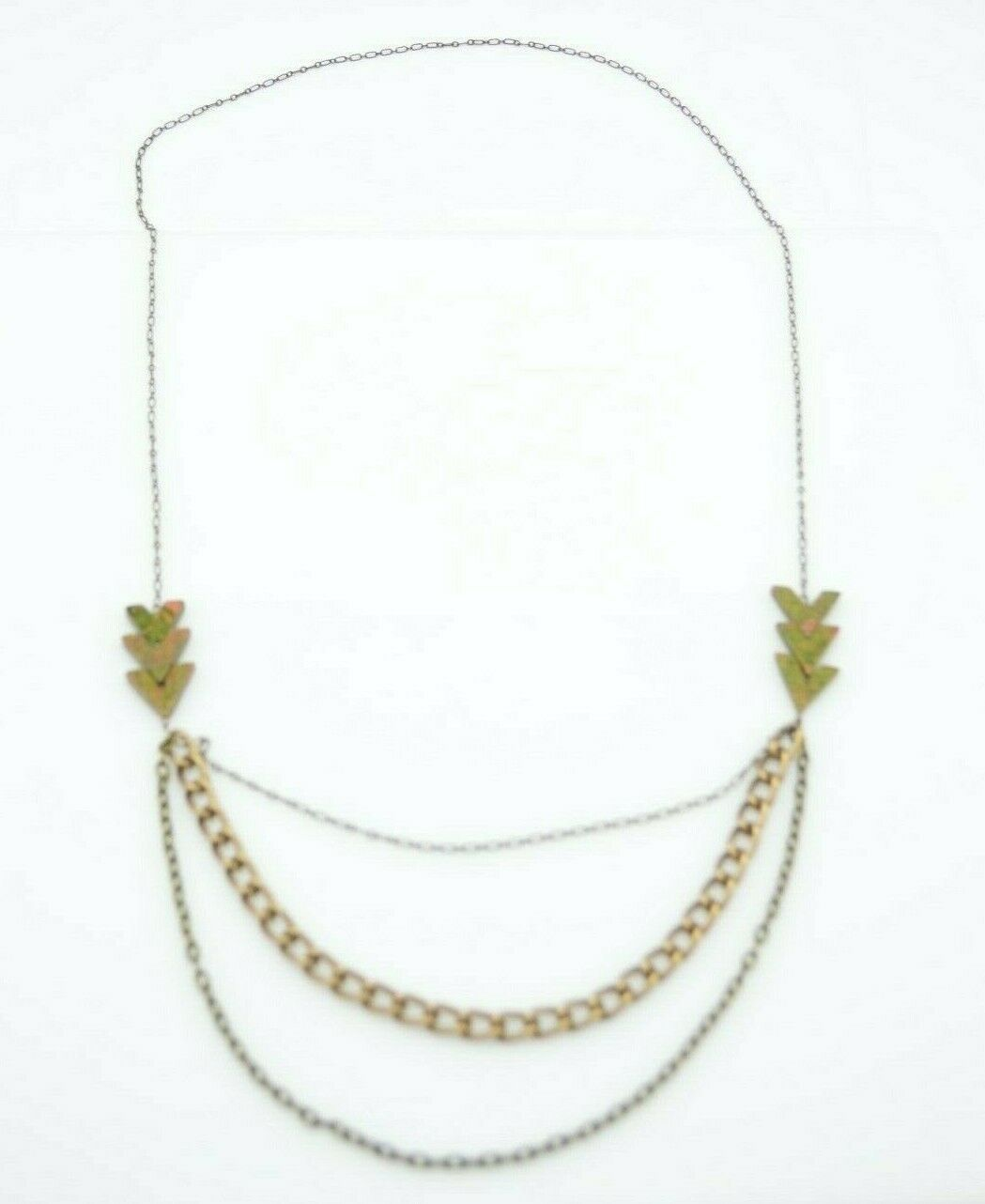 Primary image for Pink Green Unakite Gold Tone Chain Link Multi-Strand Necklace Vintage