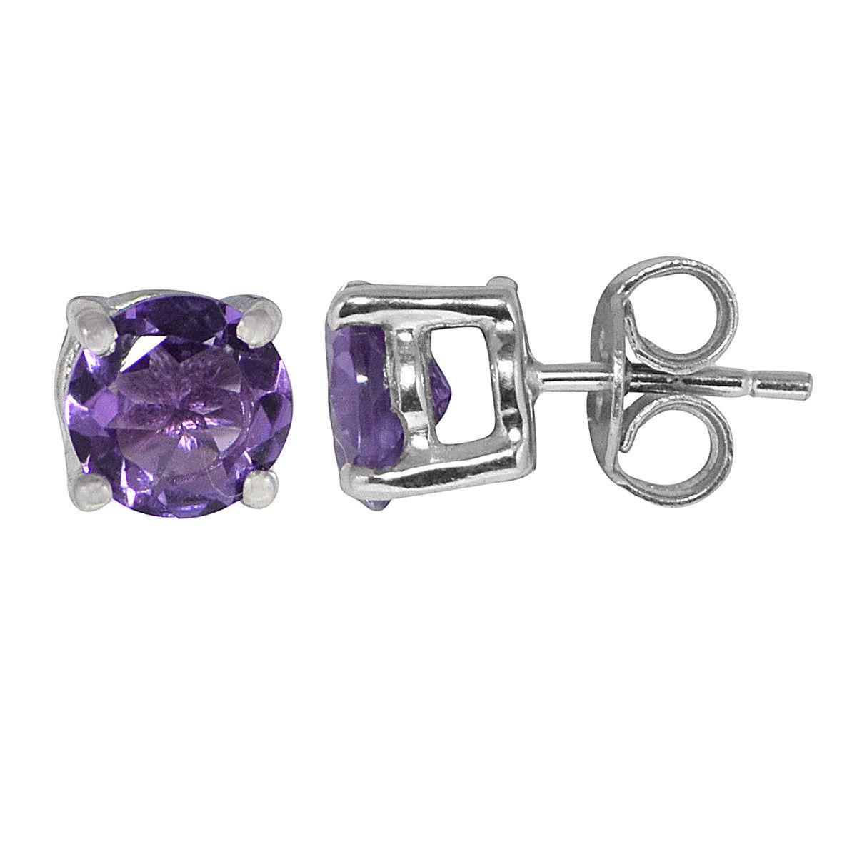 7 MM Amethyst Stone 925 Sterling Silver Stud Shine Jewel Earring SHER0343