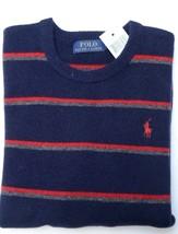 Polo Ralph Lauren Men's Crew Neck Lambswool Red/Navy Striped Sweater New M - $65.33