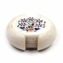 Marble Tea Cup Coaster Set Inlaid Lapis Marquetry Floras Gemstone Veterans Gift - $135.00