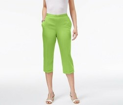 ALFRED DUNNER Cotton Blend Lime Corsica Pull-On Classic Fit Capri Pants ... - $10.80