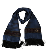 Men's Dolce & Gabbana Baroque 100% Silk Scarf Blue - £98.25 GBP