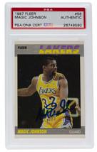 Magic Johnson L.A. Lakers Signed 1987 Fleer Sticker #56 Card Slabbed PSA/DNA - $116.39