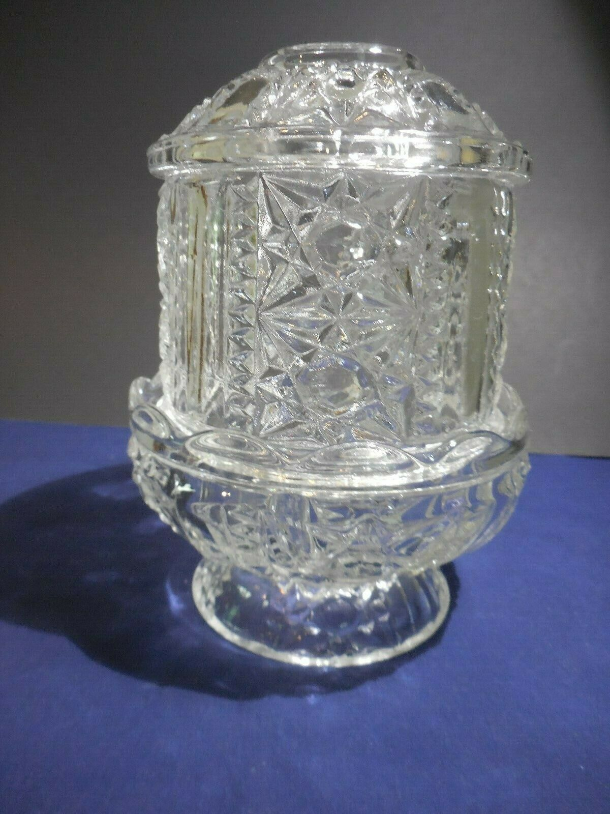 "Indiana Glass Fairy Lamp Stars Panel ING7 Clear 2 Piece  6 3/8"" Vintage Bars"