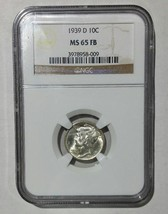 1939D Mercury Silver Dime 10¢ Coin NGC MS65 FB Full Bands  - Lot# SR 1250