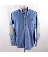 Cabelas Denim Elbow Patch Long Sleeve Button Front Shirt Mens Sz M - $29.02