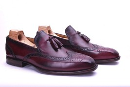 Handmade Leather Men dress Shoes Burgundy Wingtip Shoes Custom Made - $155.19