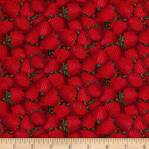 Food Theme Packed Strawberry Red Fabric Tradition 100% cotton by the yard - $8.58