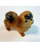 Vintage Mini Ceramic Tri-Color Pekingese Puppy Dog Figurine - $10.99